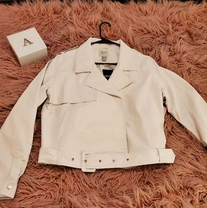 NEW White Faux leather jacket